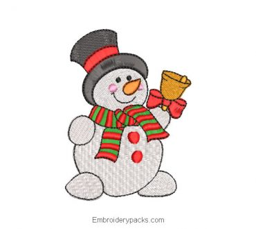 Embroidered snowman with scarf for Christmas