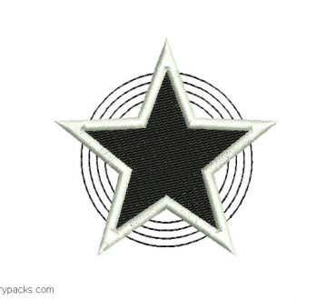 Embroidered star design with decoration