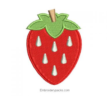 Embroidered strawberry design for embroidery