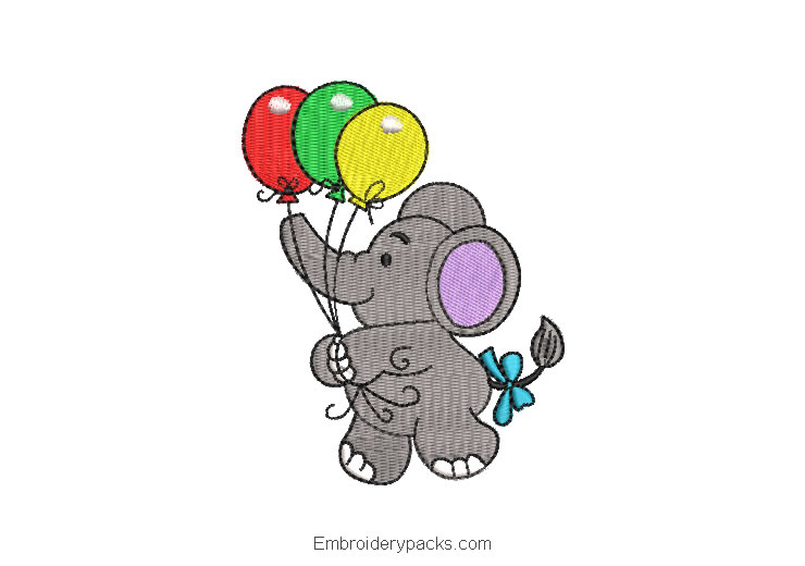 Embroidery Design Baby Elephant with Balloons