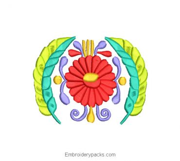 Embroidery Design Colorful Flowers Crown