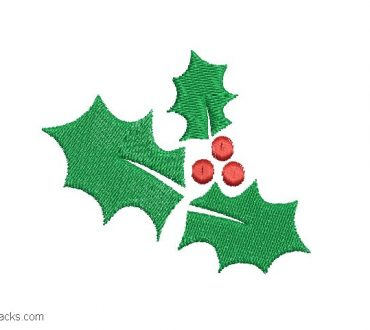 Embroidery Holly Leaves for Christmas