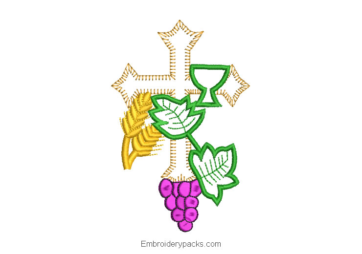 Embroidery design cross grapes branches and ears of wheat