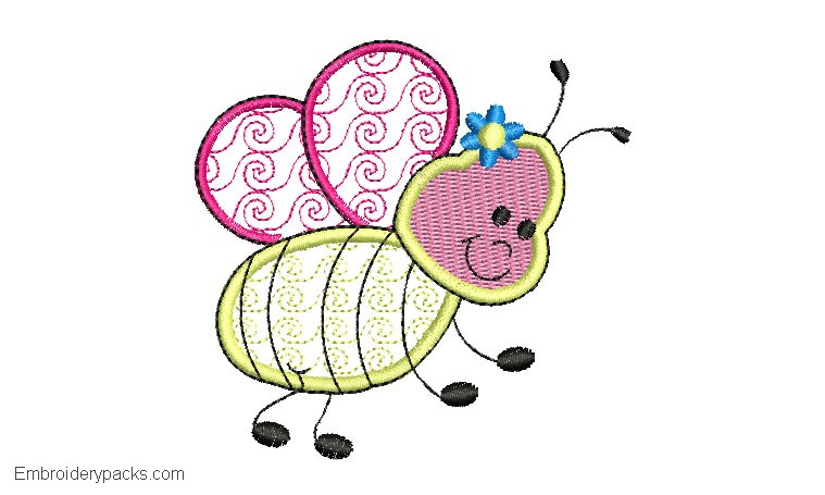 Embroidery design of bee flying