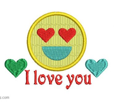 Embroidery designs of happy face I love you