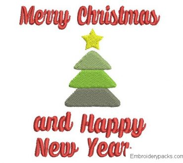 Embroidery of Merry Christmas and Happy New Year