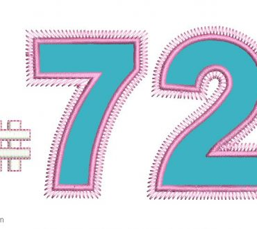 Embroidery of Number 72 with Application
