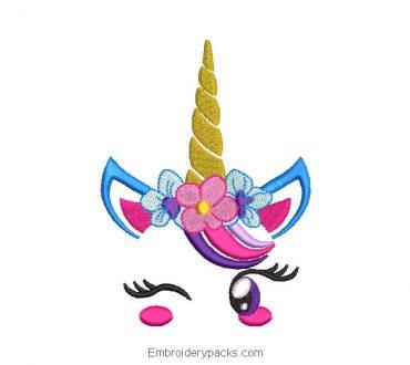 Embroidery pony unicorn winking
