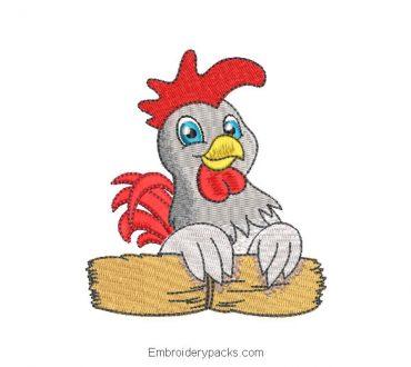 Farm Hen Embroidered Design
