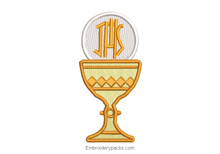 First communion cup and ostia embroidered design