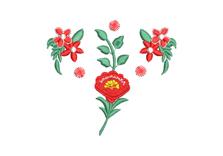 Flores Rojas con Hojas Diseño de Bordado
