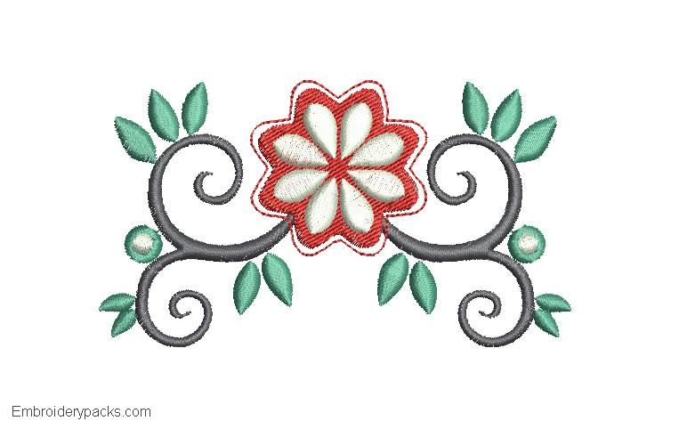 Flower Leaf Embroidery Design