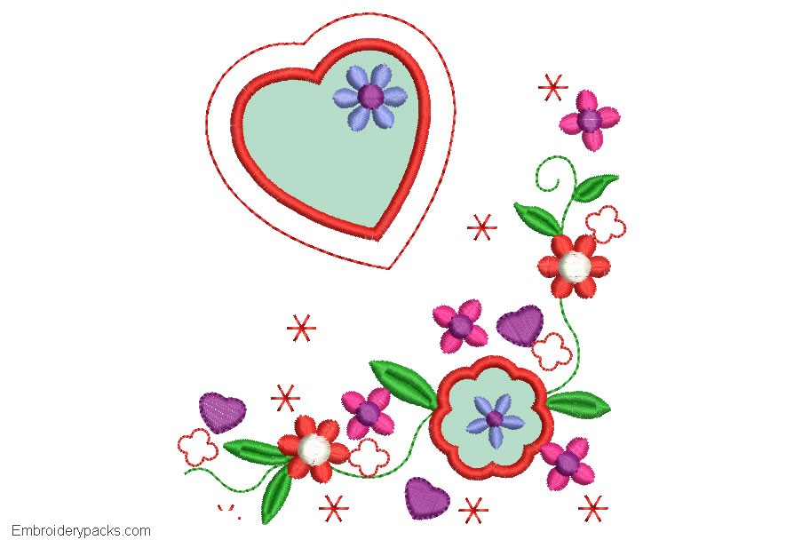 Flower embroidery with Application