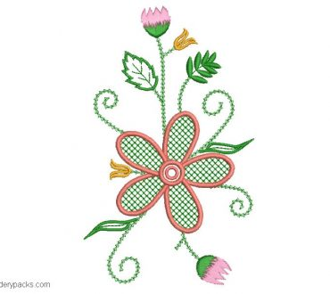 Flower embroidery with green leaves