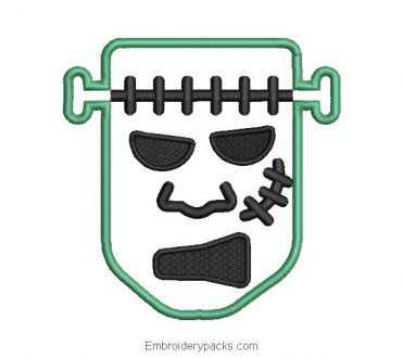 Frankenstein face embroidery design