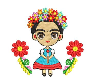 Frida Kahlo Animated with Flowers Embroidery Designs