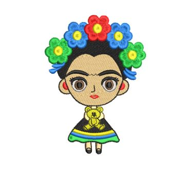Frida Kahlo Child Doll Embroidery Designs