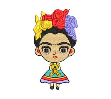 Frida Kahlo Child Doll with Bear Embroidery Designs
