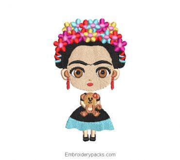 Frida Kahlo Design for Embroidery Machine