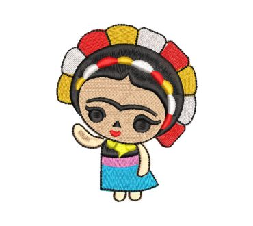 Frida Kahlo Doll with Flowers Embroidery Designs
