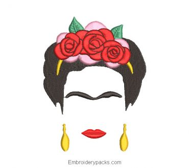 Frida Kahlo Embroidered Design
