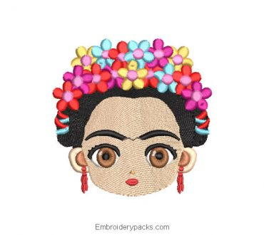 Frida Kahlo Face Embroidery Design