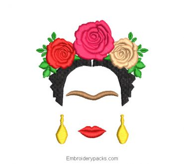 Frida kahlo embroidered design with colored roses
