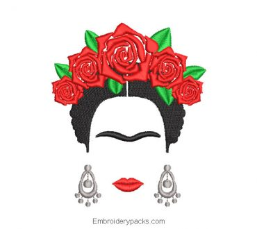 Frida kahlo embroidery design with roses