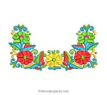 Garden Flower Bouquet Embroidered Design
