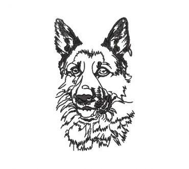 German Shepherd Face Embroidery Design