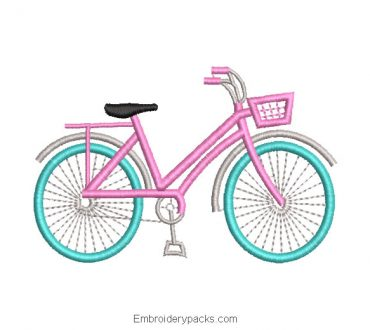 Girl Bicycle Embroidered Design