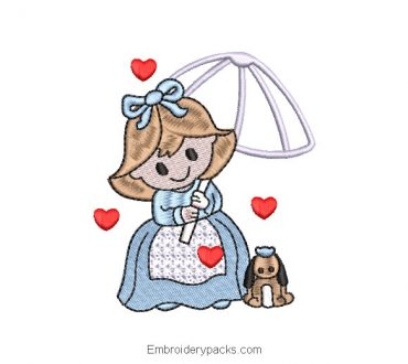 Girl with umbrella and pet embroidered design