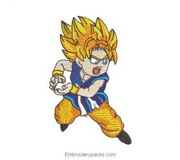 Goku design for machine embroidery