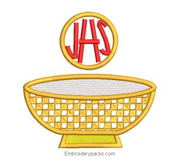 Gold chalice cup embroidered design with JHS letter