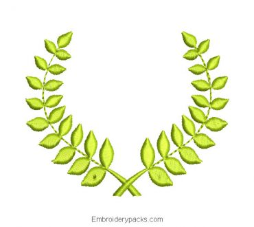 Green leaves bouquet embroidery design