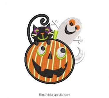 Halloween ghost pumpkin embroidery design
