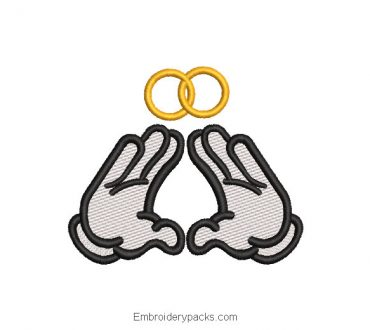 Hand Embroidery Design with Wedding Ring