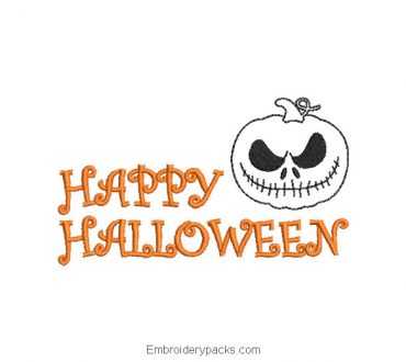 Happy halloween letter embroidery design