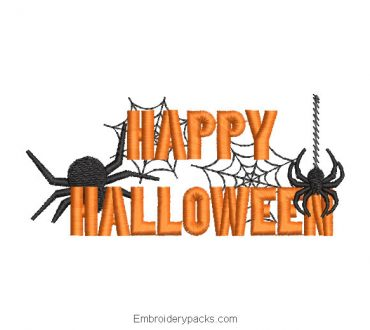 Happy halloween letter embroidery with spider
