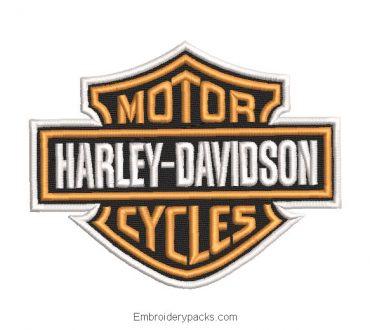 Harley davidson motor logo embroidery design