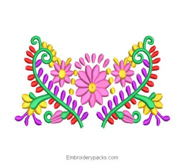 Heart Shaped Colorful Flowers Embroidery Design