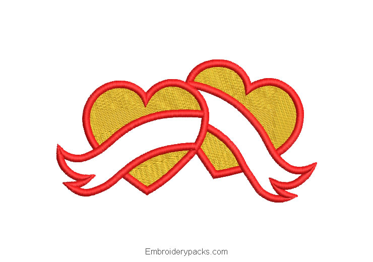 Heart with bow machine embroidery design