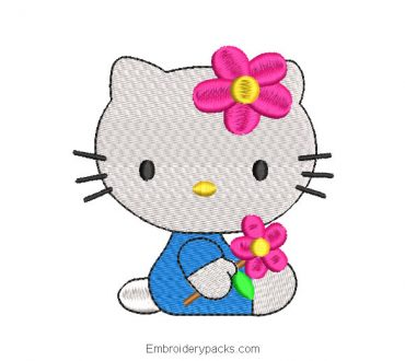 Hello kitty baby embroidery design with flowers
