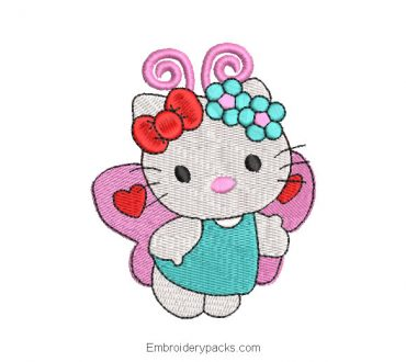 Hello kitty butterfly embroidery design for embroidery