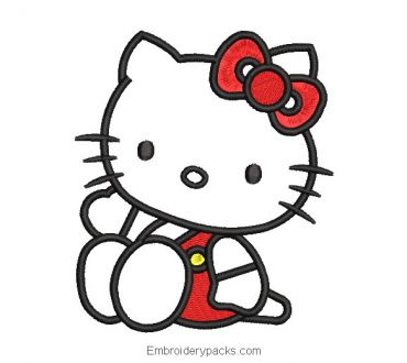 Hello kitty embroidery design with red dress