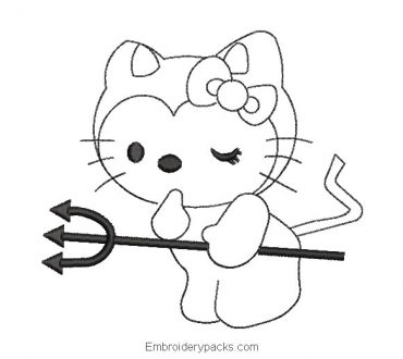 Hello kitty embroidery edge with sword