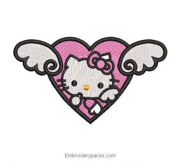 Hello kitty heart embroidery
