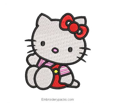 Hello kitty sitting embroidery design