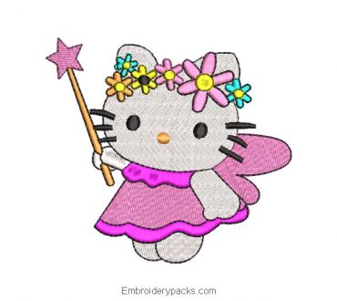 Hello kitty with magic wand embroidery design