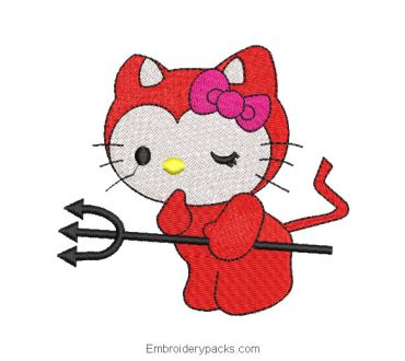 Hello kitty with sword embroidery design